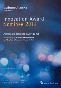 Innovation award nominee Autoglass Restore